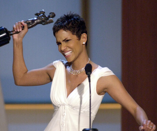 Halle Berry accepts the SAG award for outstanding performance by a female actor in a leading role for Monster's Ball.
