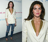 Model Hilary Rhoda Wears Ivory Sequined Adam Blazer and Ripped Jeans in NYC