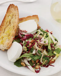 Recipe For Dinner Salad of Bitter Greens With Toasted Almonds and Goat Cheese