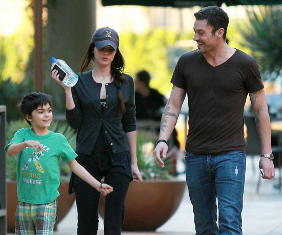 Slide Photo of Megan Fox with Brian Austin Green and Kassius in LA