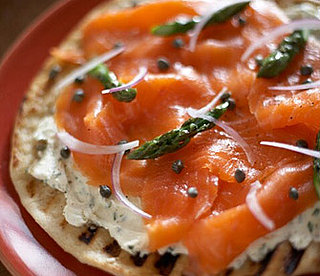Pizza with Herbed Mascarpone, Smoked Salmon and Asparagus