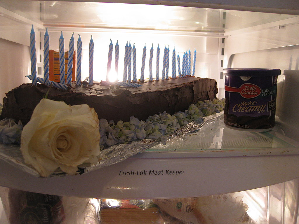 For dessert I made a chocolate layer cake and an ice cream terrine. The cake was decorated with 28 candles and a border of flowers.
