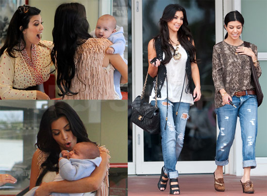 Photos of Kim and Kourtney Kardashian Filming in Miami with Baby Mason Disick