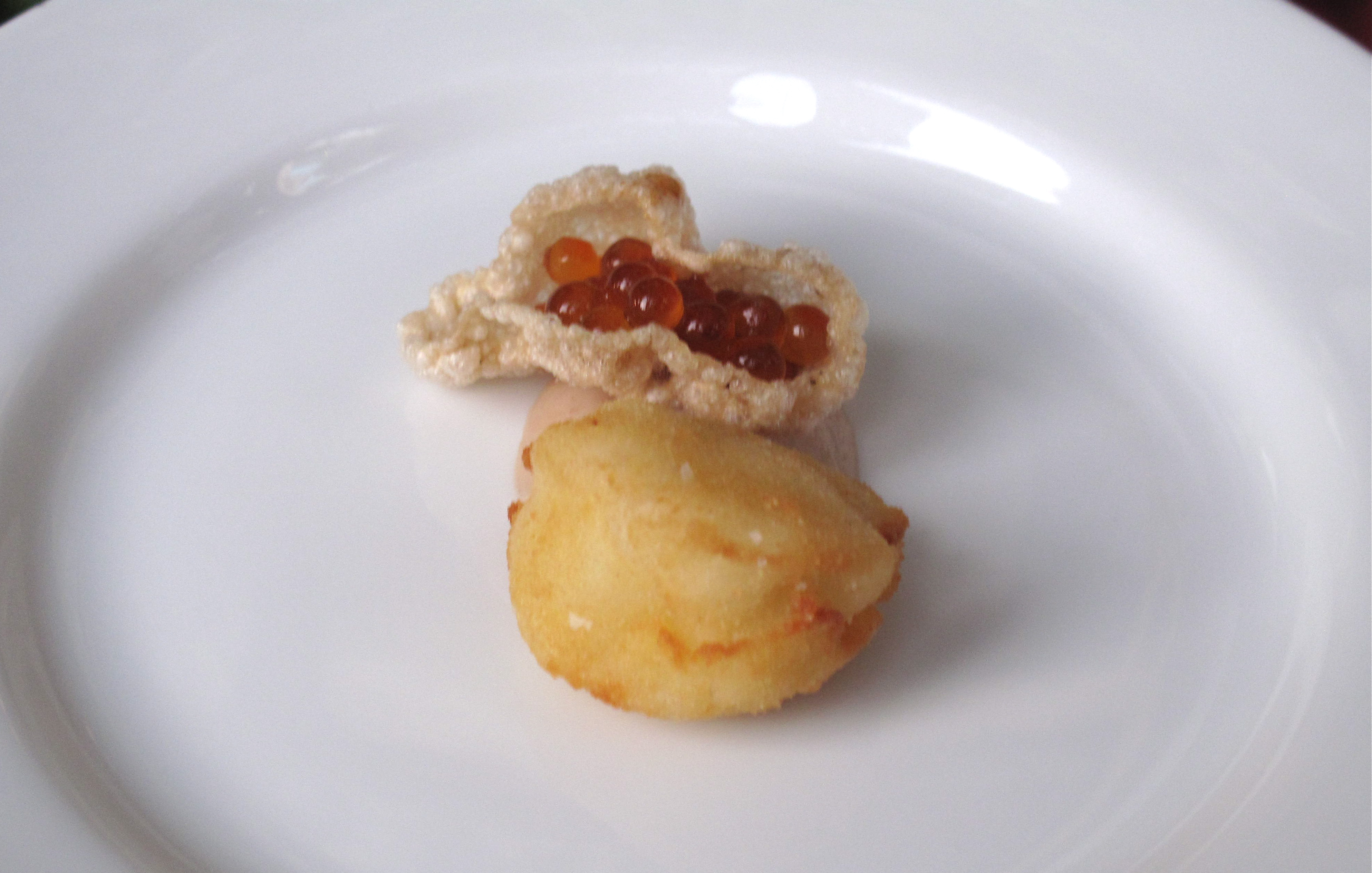 """Bryan's Baltimore coddies with Jerusalem artichokes, smoked trout roe, and bacon """"saltines."""" The bacon saltine with roe was a delicious combination!"""