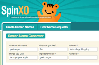 Generate Screen Names With SpinXO