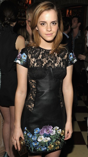 Emma Watson in Lace and Floral Dress by Christopher Kane in NYC