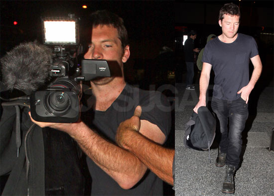Pictures of Sam Worthington Having Fun With Photographers Outside a Night Club in LA