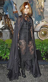 Vogue Paris Editor Carine Roitfeld Wears Black Lace and Cape