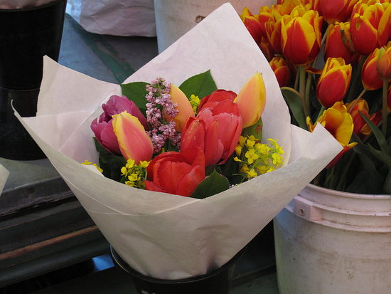 Tulips were everywhere in the city that weekend — including the bunches of flowers
