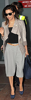Eva Longoria Wears Gray Cropped Trousers at Nice Airport to Attend Cannes Film Festival
