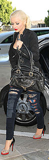 Christina Aguilera Wears Hudson Flag Jeans and Christian Louboutin Shoes in Beverly Hills