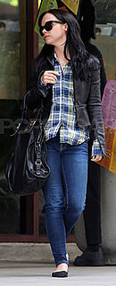 Christina Ricci in Plaid Shirt and Leather Jacket