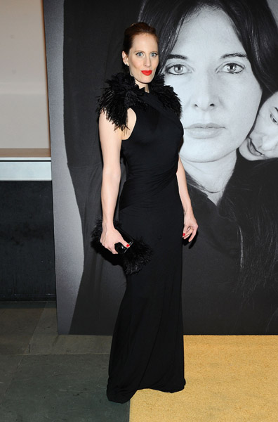 Liz Goldwyn feathered her shoulders while keeping the rest of her sleek and slim.