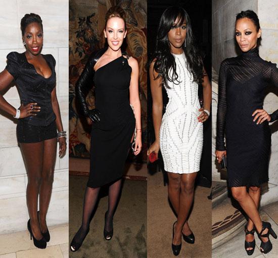 Photos of Kelly Rowland, Kylie Minogue, Zoe Saldana, and Estelle