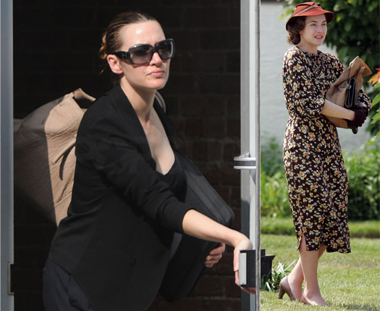 Pictures of Kate Winslet Leaving Her Building in New York and On Set for Mildred Pierce in Costume
