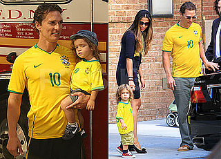 Pictures of Matthew McConaughey With Levi and Camila Wearing Brazil Gear For World Cup