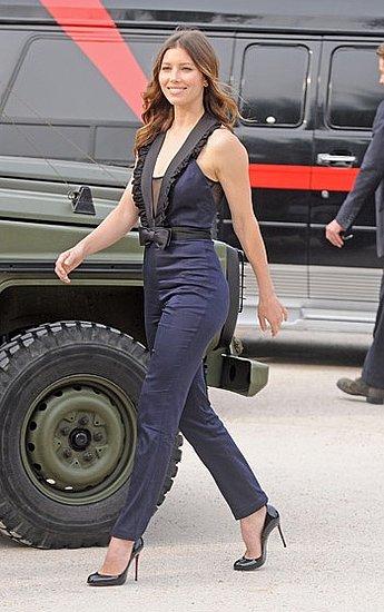 Jessica Biel in Erin Fetherston Navy Jumpsuit