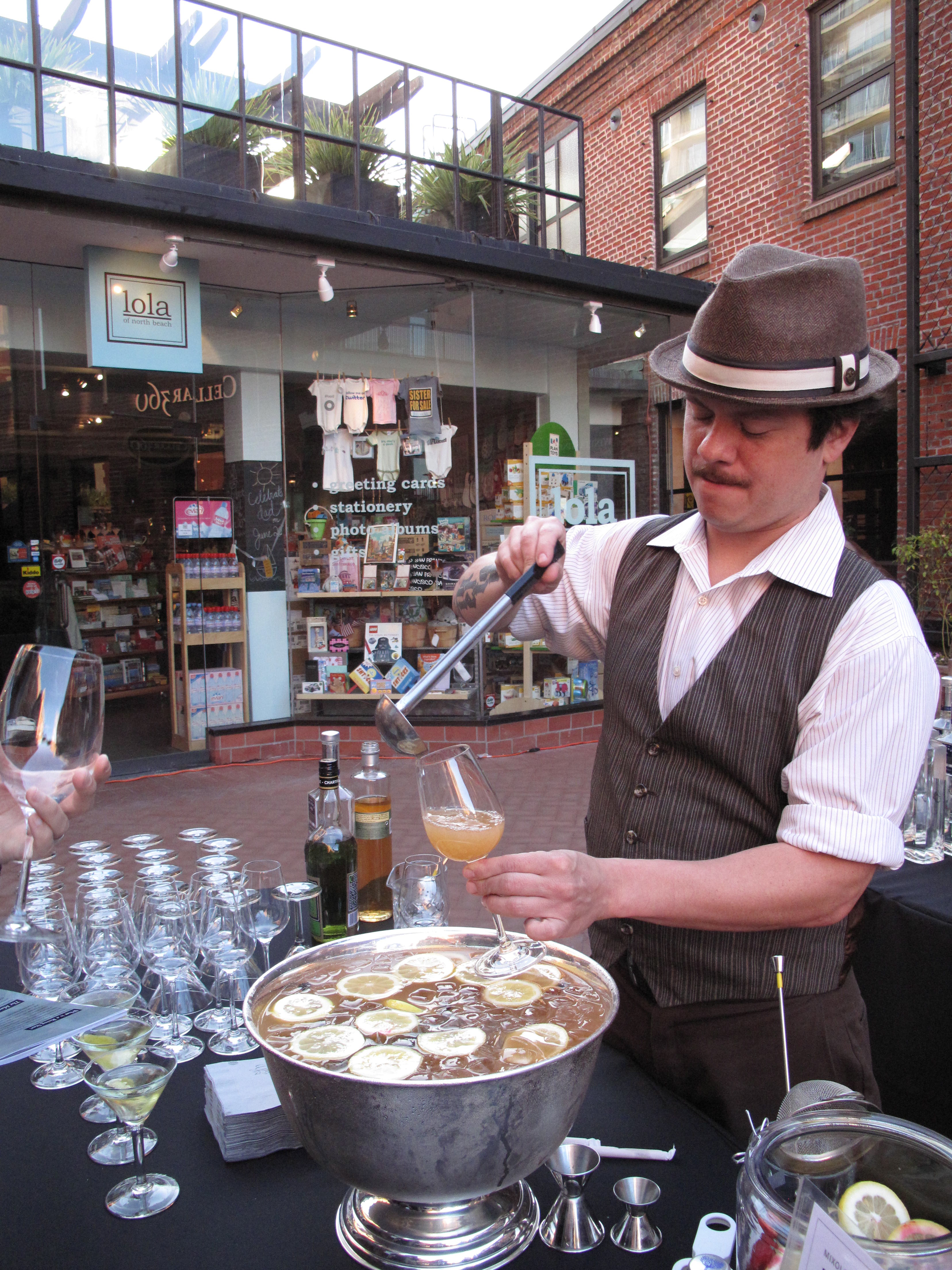"""Mixologist Erick Castro of Rickhouse was the talk of the night with his """"Lusty Maritime Punch,"""" featuring Highland Park Single Malt Scotch and Yellow Chartreuse."""