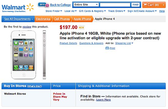 White iPhone 4 on Walmart's Website