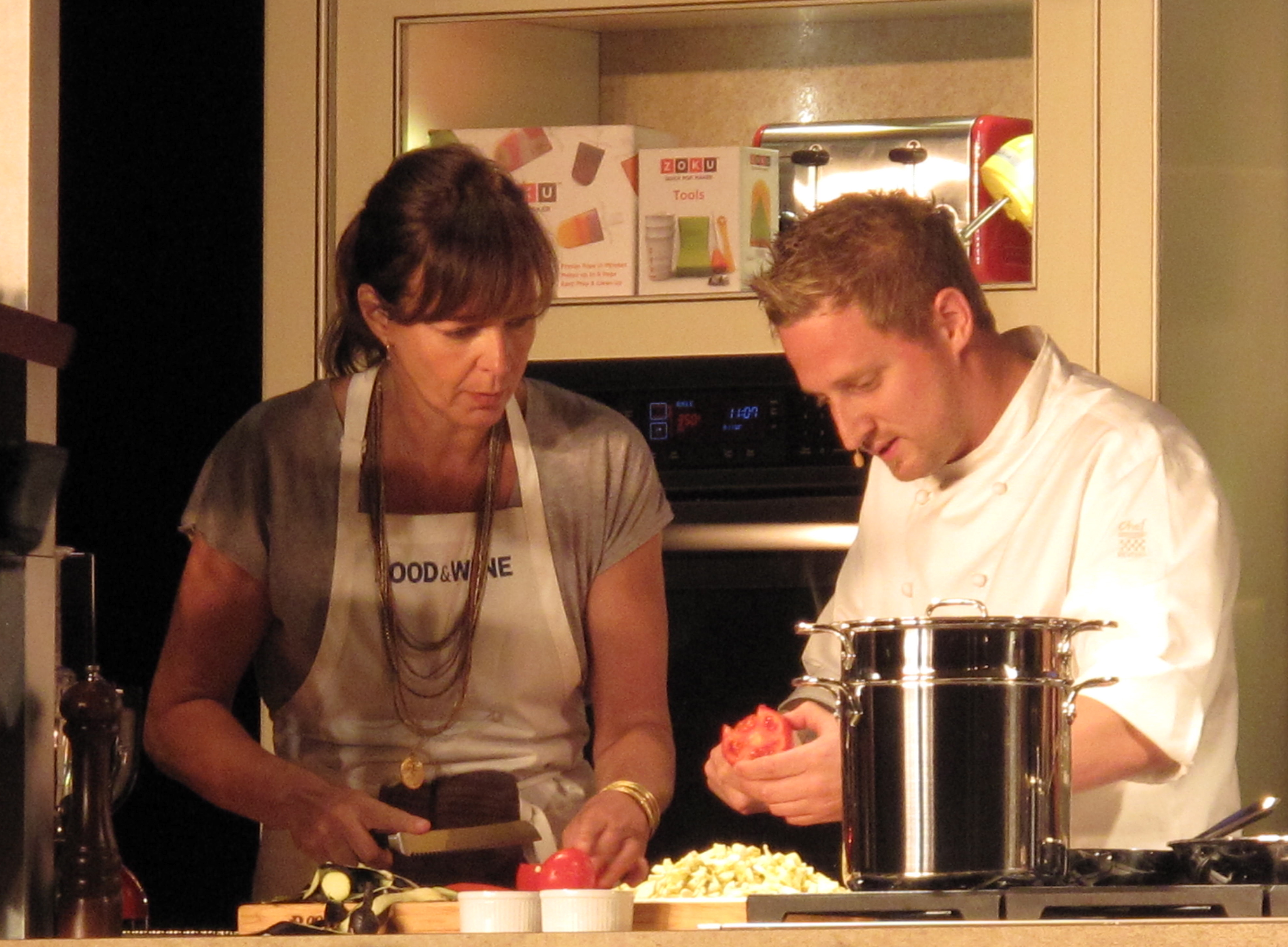 Allison Janney and Michael Voltaggio hard at work.