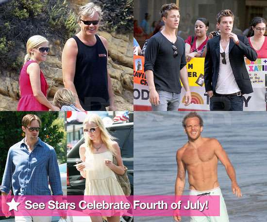 Pictures of Celebrities Celebrating Fourth of July Weekend Inc Shirtless Stephen Dorff, Reese Witherspoon, Xavier Samuel
