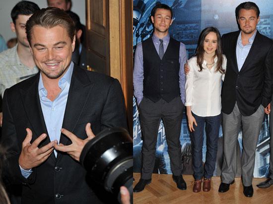 Leonardo DiCaprio, Ellen Page, and Joseph Gordon-Levitt at a London Photo Call For Inception