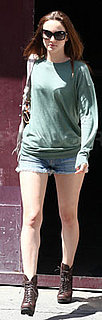 Leighton Meester in Jean Shorts and Brown Booties in Paris