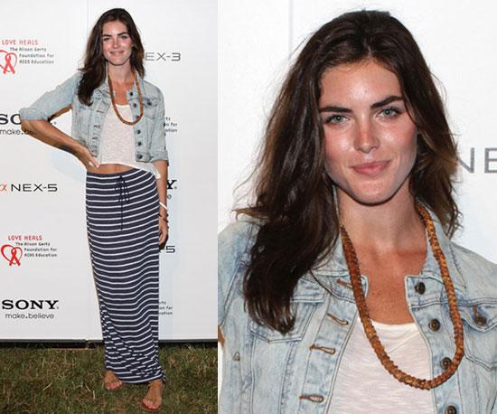 Hilary Rhoda Wearing Striped Maxiskirt and Acid Wash Denim Jacket 2010-07-12 10:00:22