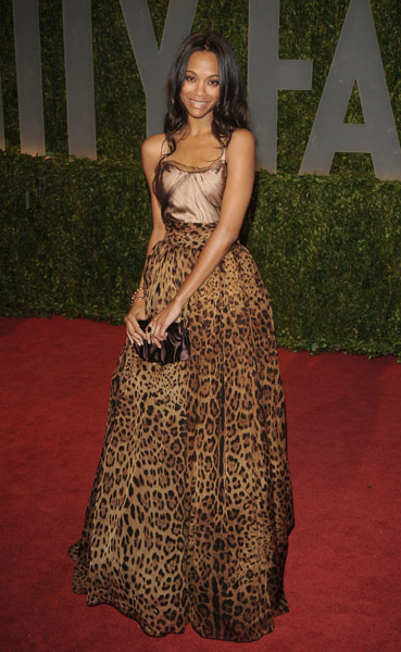 Saldana wore a sexy animal-print gown by Dolce & Gabbana to the Oscars afterparty in '09.