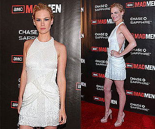 January Jones Wearing White Flapper Fringe Dress and Nude Pumps