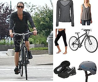 Pictures of Jessica Biel Biking in NYC in Nike, Capris, and Gray V-Neck