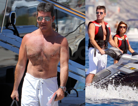 Pictures of Simon Cowell Shirtless Jetskiing with Mezhgan