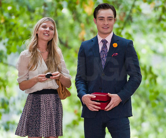 Slide Picture of Ed Westwick and Clemence Poesy Filming Gossip Girl