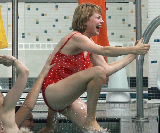 Slide Picture of Michelle Williams in a Red Bathing Suit on the Set of Take This Waltz