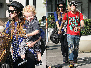 Pictures of Ashlee Simpson Leaving Her NYC Hotel With Pete and Bronx Wentz