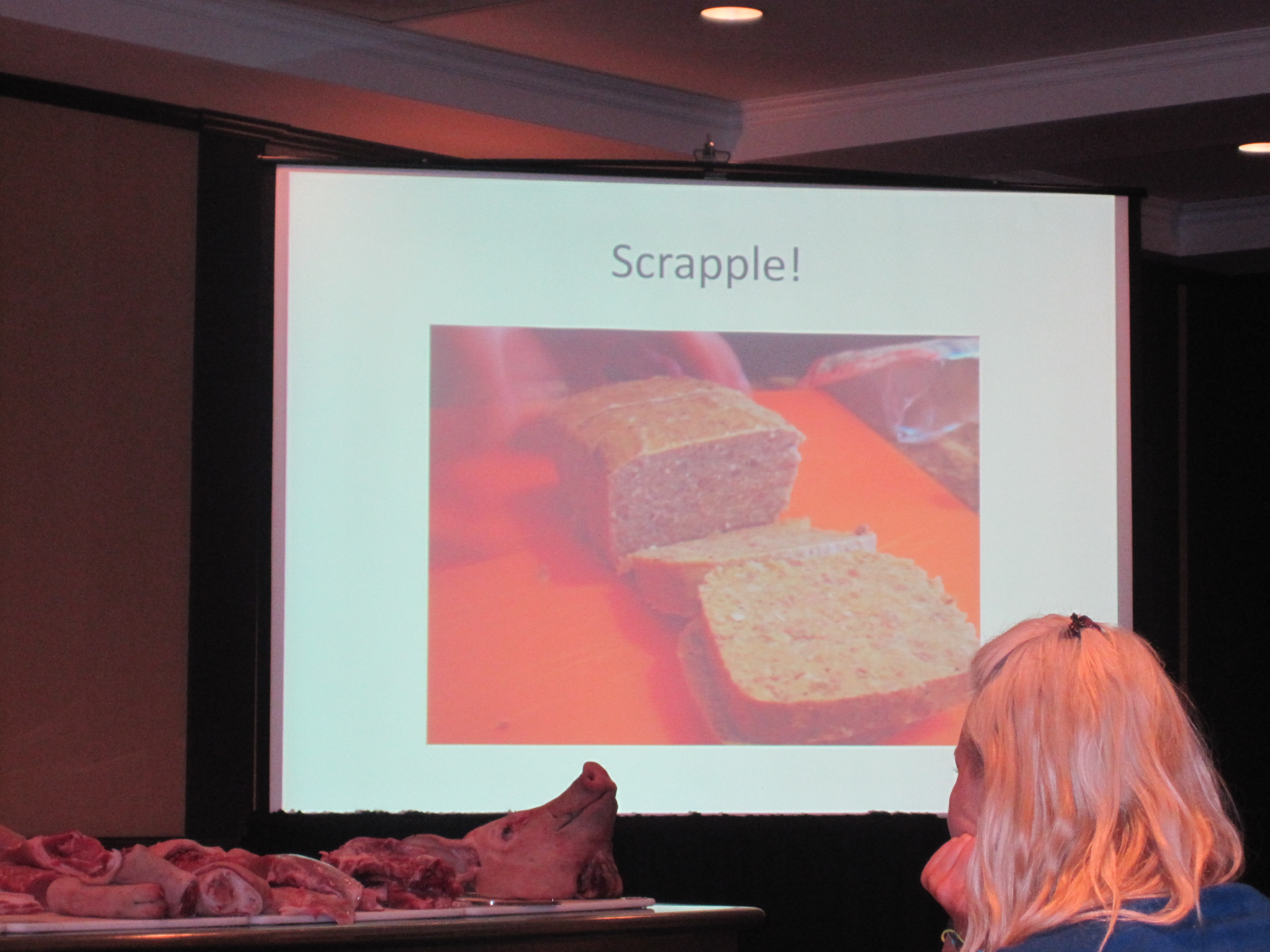Scrapple is a dish that's made with leftover parts of the pig, like the head, liver, and kidney. It's all braised slowly, then blended together to become a sort of country pate.