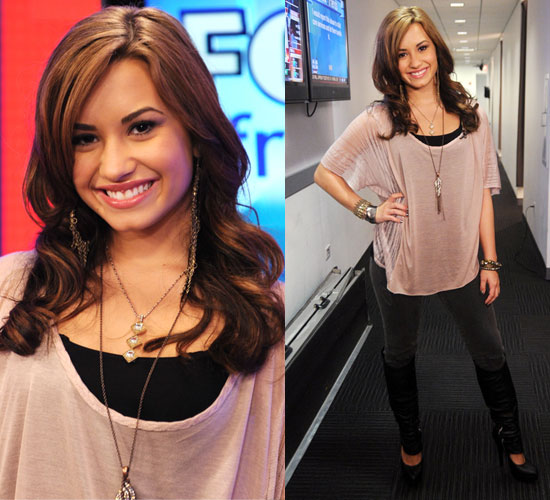 Pictures of Demi Lovato at Fox and Friends Wearing Pink Top and Black Boots
