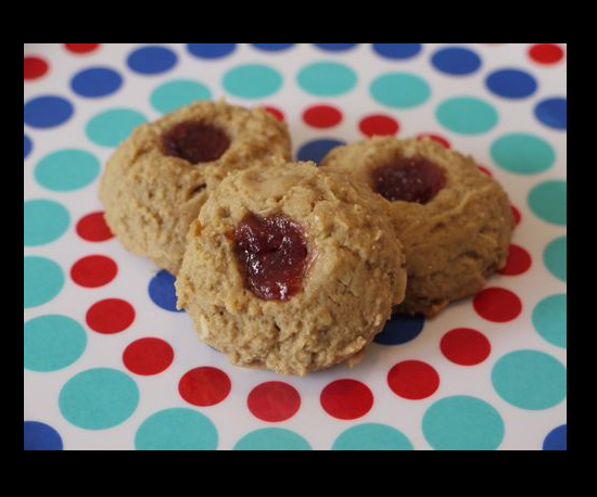 Peanut Butter and Jelly Oatmeal Thumbprint Cookies