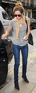 Rose Byrne Wears Jeans and Wedge Boots in London