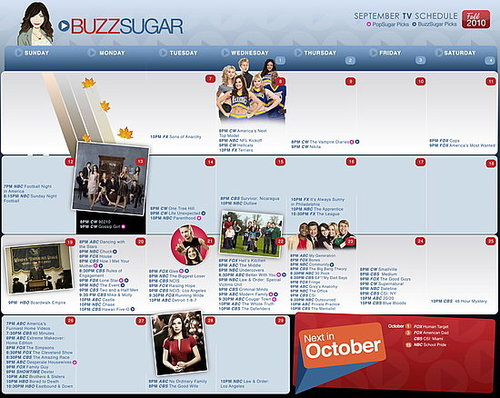 Printable Calendar for 2010 Fall TV Shows and Premiere Dates