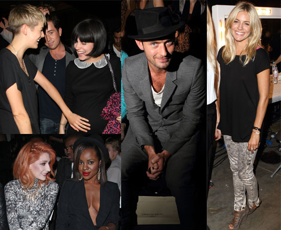 Pictures of Celebrities Including Jude Law, Sienna Miller, Agyness Deyn, Pregnant Lily Allen at London Fashion Week Spring 2011