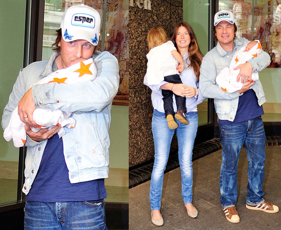 Pictures of Jamie Oliver and Jools Oliver With Baby Buddy Bear Maurice Leaving Hospital