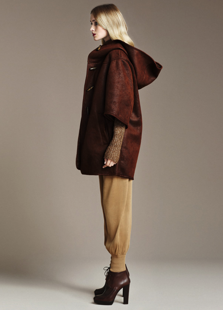 Double-Sided Three Quarter Coat, ($129) Knit Trousers, ($40) Ankle Lace-Up Boots, ($149)