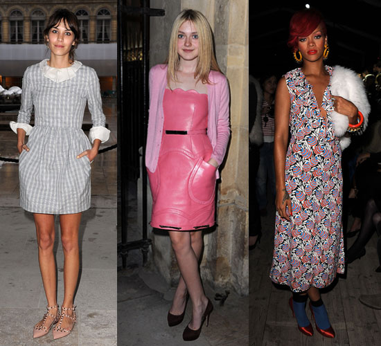 Pictures of Celebrities at Paris Fashion Week Including Alexa Chung, Dakota Fanning, Rihanna, Leigh Lezark and Daisy Lowe