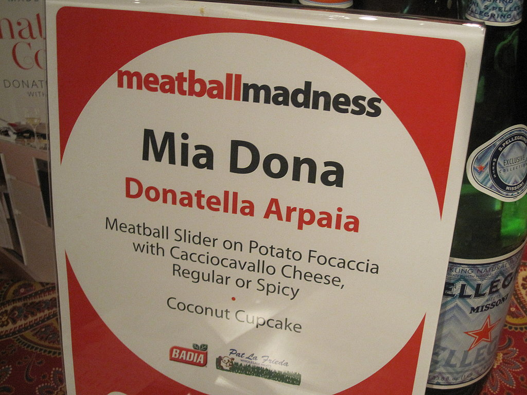 Each table had a sign that explained the meatball.