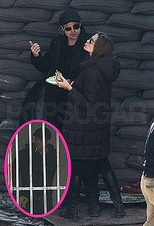 Pictures of Brad Pitt Smoking and Eating Lunch With Angelina Jolie in Hungary