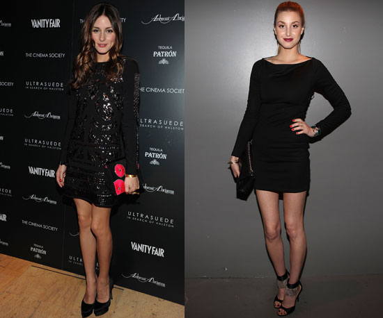 Battle of the LBDs: Olivia in an embellished sheath; Whit in classic black.