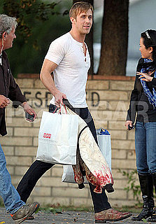 Pictures of Ryan Gosling Leaving the LA Set of Drive