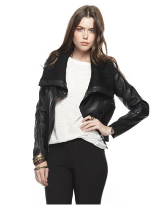 Ribbed Collar Leatherette Jacket ($38)