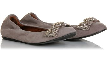 Lanvin - Leather Ballerinas With Crystal Bow